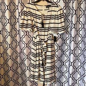 ELOQUII Stripe Flare Dress w/ Tie